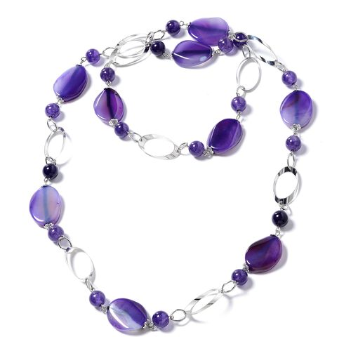 Designer Inspired - Purple  Agate (Rnd) Oval Link Necklace (Size 38) in Silver Plated 330.000 Ct.