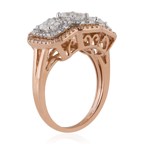 New York Close Out Deal- 14K Rose Gold Princess Cut & Round Brilliant Cut Diamond (I1/G H) Ring 2.000 Ct, Gold wt 6.00 Gms.