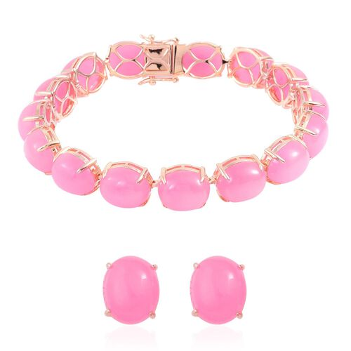 Burmese Pink Jade (Ovl) Bracelet (Size 7.75) and Stud Earrings (with Push Back) in Platinum Overlay Sterling Silver 106.500 Ct.