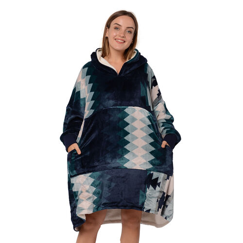 Tribal Pattern Flannel Blanket Hooded Sweatshirt (Size 85x90cm) with Long Sleeves - Navy, Green and White