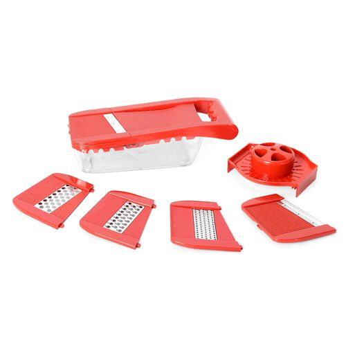 Set of 7 Red Colour Multi-Functional Adjustable Shredder including 1 Food Container,1 Butting Board,