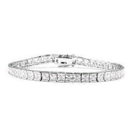 Simulated Diamond (Princess Cut) Tennis Bracelet (Size 7) in Silver Plated