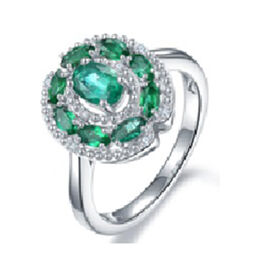 AAA Kagem Zambian Emerald (Ovl and Mrq), Diamond Ring in Rhodium Overlay Sterling Silver