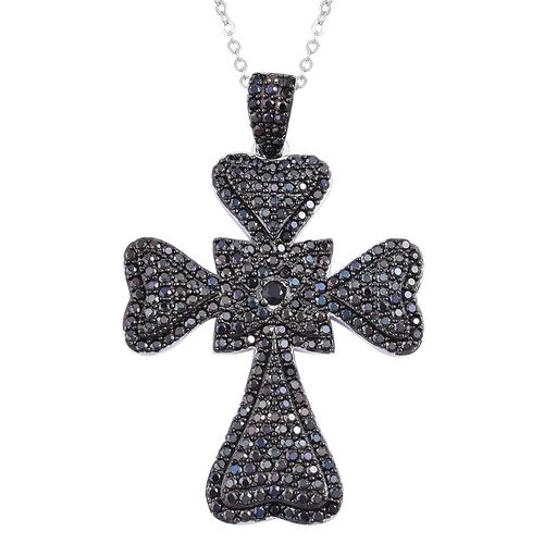 Boi Ploi Black Spinel Cross Pendant With Chain in Black Rhodium Plated Sterling Silver 2.650 Ct.