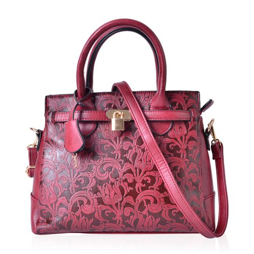 Chelsea True Red Baroque Embossed Tote Bag with External Zipper Pocket and Adjustable and Removable Shoulder Strap (Size 29X25X10.5 Cm)