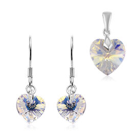 J Francis Set of 2 AB Crystal from Swarovski Heart Hook Earrings and Pendant in Sterling Silver