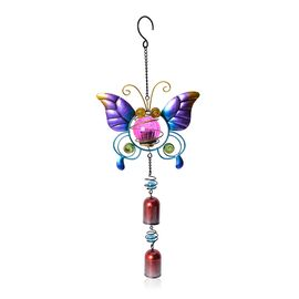 Home Decor - Solar Energy Powered Purple Butterfly Hanging Windchime (Size 46.5x18.2 Cm)
