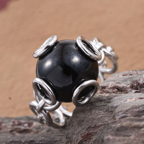 Boi Ploi Black Spinel (Rnd) Circle Link Ring in Rhodium Plated Sterling Silver 10.070 Ct.
