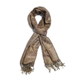SILK MARK - 100% Superfine Silk Copper and Red Colour Flower Pattern Jacquard Jamawar Scarf with Tas