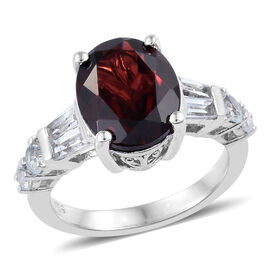 5.21 Ct Mozambique Garnet and White Topaz Ring in Platinum Plated Sterling Silver