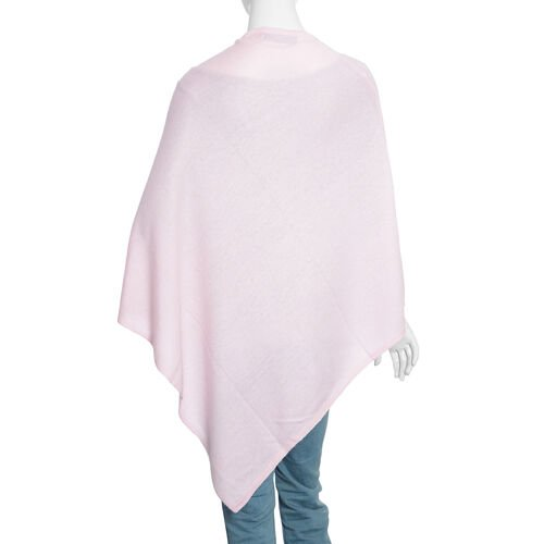 Limited Available - 100%  Cashmere Pashmina Wool Poncho - Baby Pink (Free Size)