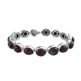 50 Ct Ruby Zoisite and Zircon Bracelet in Platinum Plated Silver 15.76 Grams 6.75 Inch