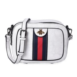 100% Genuine Leather White Colour Cross Body Bag (Size 20x7.5x15 Cm) with Detachable Shoulder Strap