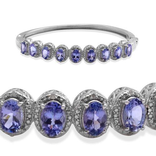 Tanzanite (Ovl), Diamond Bangle in Platinum Overlay Sterling Silver (Size 7.5) 4.800 Ct.
