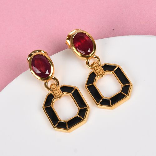 African Ruby Enamelled Drop Earrings in 14K Gold Overlay Sterling Silver 2.25 Ct.
