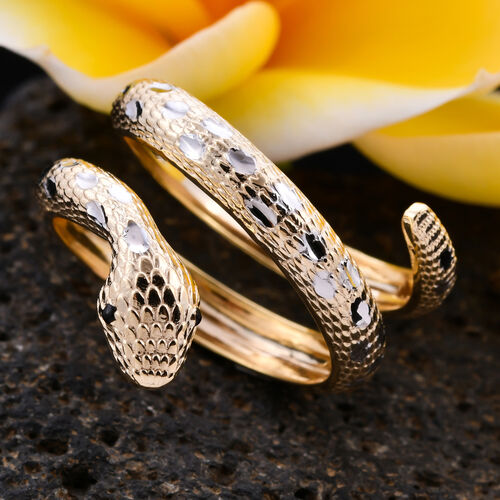 Italian Made- 9K Yellow and White Gold Serpente Ring