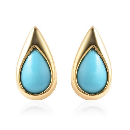 LucyQ Arizona Sleeping Beauty Turquoise Drop Stud Earrings (with Push Back) in Yellow Gold Overlay S