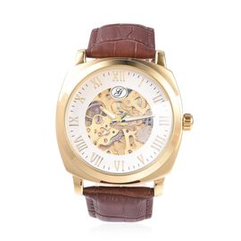 GENOA Automatic Skeleton Water Resistant Watch with White Hollow-out Dial and Brown Leather Strap