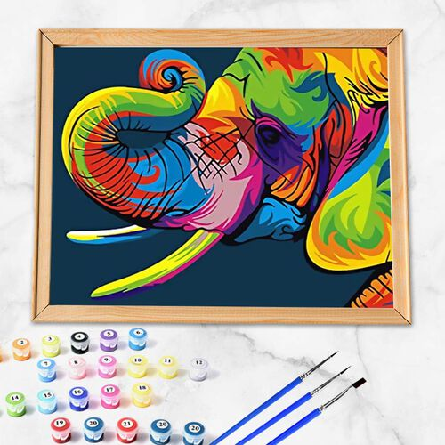 Colourful Elephant Painting by Numbers kit (Includes 1 Piece Pre-printed textured art canvas, 3 Paintbrush, Paint and Pins) (Size 40x50cm)