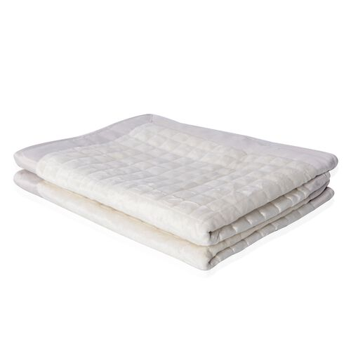 2 Piece Set - Off White and Grey Colour Micro Mink Reverse Matte Satin Pillow Cover (70x50 Cm)