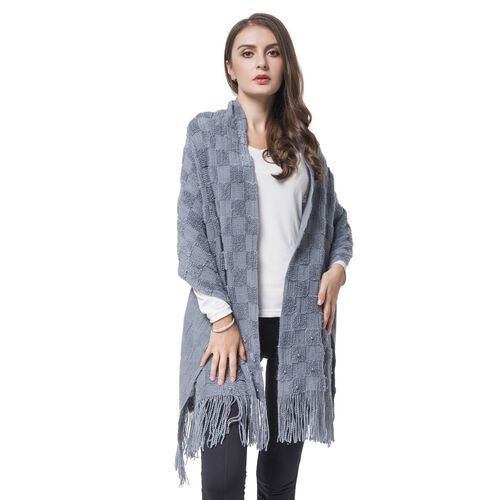 Simulated Pearl Embellished Grey Colour Checker Pattern Knitted Shawl with Tassels (Size 180X50 Cm)