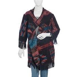 Black and Multi Colour Aztec Cardigan (Size 75x50 Cm)