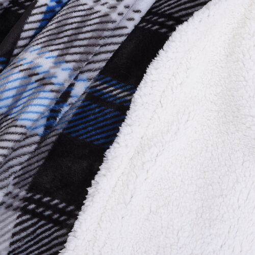 Check Pattern Flannel Sherpa Blanket (Size 190x150cm) - Blue, Black and Grey