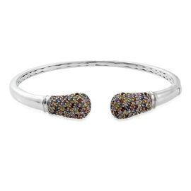 Rainbow Sapphire (Rnd) Torque Bangle (Size 7.5) in Platinum Overlay Sterling Silver 4.000 Ct. No Of Sapphires 136 pcs