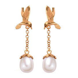 Freshwater Pearl Dangle Swooping Birds Earrings in Gold Plated Silver
