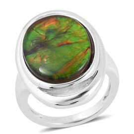 AA Canadian Ammolite (Ovl 18x13 mm) Ring (Size N) in Rhodium Overlay Sterling Silver.