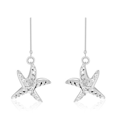 Sterling Silver Diamond Cut Starfish Hook Earrings, Silver wt 5.40 Gms