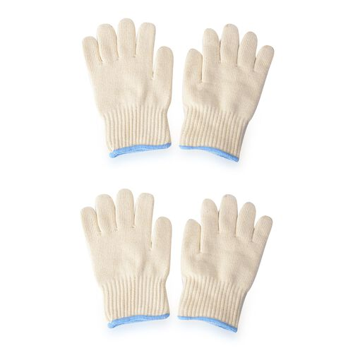 Set of 2 - White Colour Oven Gloves (Size 17x26.5 Cm)