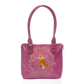 100% Genuine Leather Pink Colour Fox Pattern Handbag (Size 22.86x30.48x6.35 Cm)