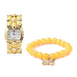 2 Piece Set - STRADA Japanese Movement Water Resistant Bracelet Watch and Yellow Agate Stretchable B