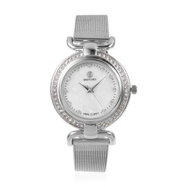 STRADA Japanese Movement White Austrian Crystal Studded  Water Resistant Watch in Silver Tone