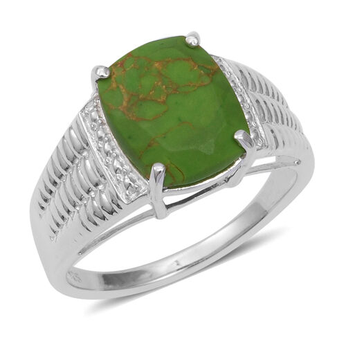 3.88 Ct Mojave Colour Turquoise Solitaire Ring in Sterling Silver 4.4 Grams