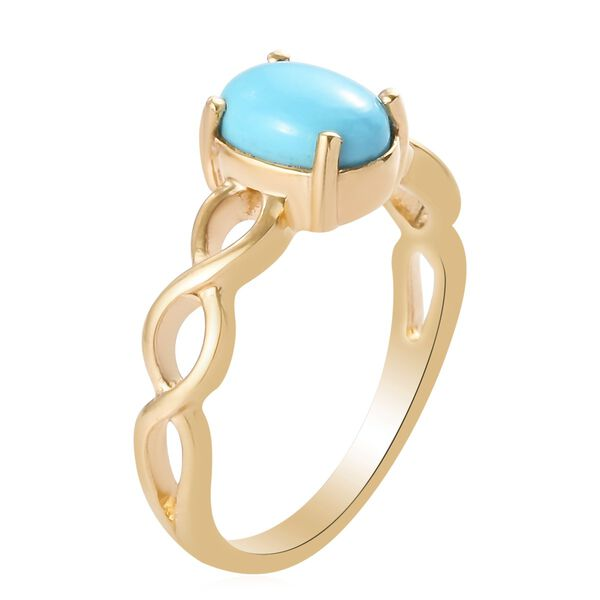 AA Arizona Sleeping Beauty Turquoise (Ovl 8x6mm) Solitaire Ring in 14K Gold Overlay Sterling Silver 1.00 Ct.