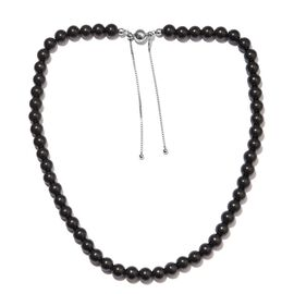 Elite Shungite Bead Necklace (Size 18-23 Adjustable) in Rhodium Overlay Sterling Silver 175.00 Ct.