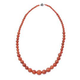 330 Ct Red Colour Jade Graduated Beaded Necklace in Rhodium Plated Sterling Silver Size 20 Inch