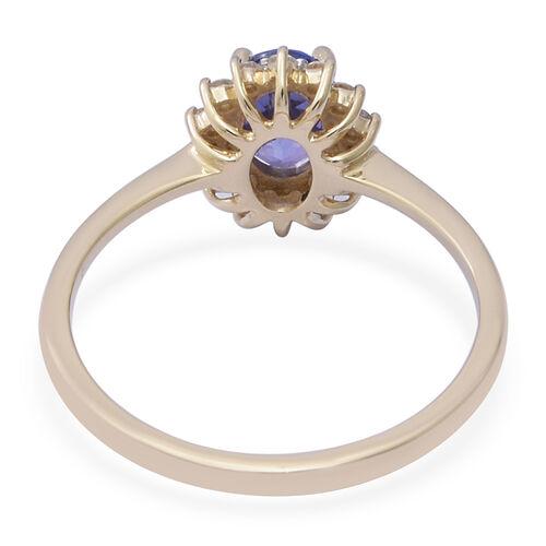 9K Yellow Gold Tanzanite (Ovl 7x5mm), Diamond (I3/G-H) Ring 1.00 Ct.