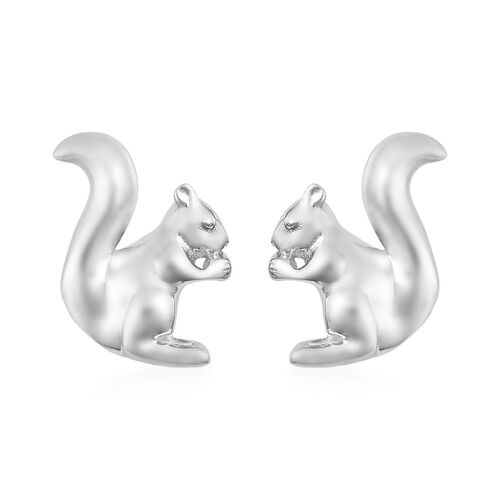 Platinum Overlay Sterling Silver Squirrel Earrings (with Push Back)