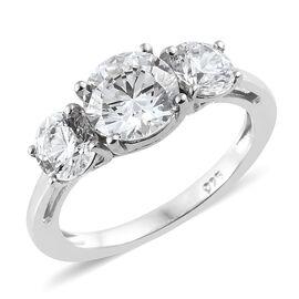 J Francis - Platinum Overlay Sterling Silver (Rnd 7 mm) Three Stone Ring Made With SWAROVSKI ZIRCONIA