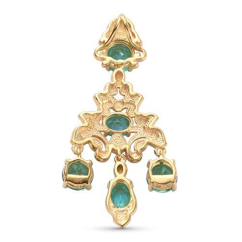 Peacock Triplet Quartz Enamelled Dangle Pendant in 14K Gold Overlay Sterling Silver 6.29 Ct, Silver wt. 5.80 Gms