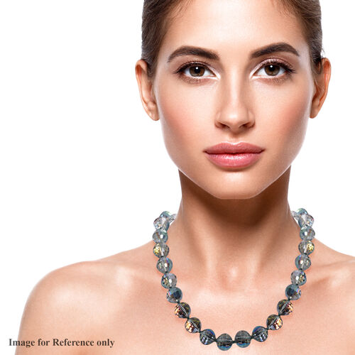 Simulated Grey Topaz Beaded Necklace (Size 20 with Magnetic Lock) in Stainless Steel