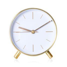 Decorative Round Shape Alarm Clock White Colour - Golden