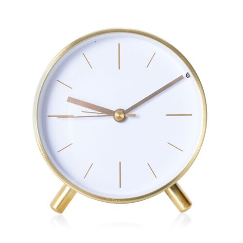 Decorative Round Shape Alarm Clock White Colour - Golden