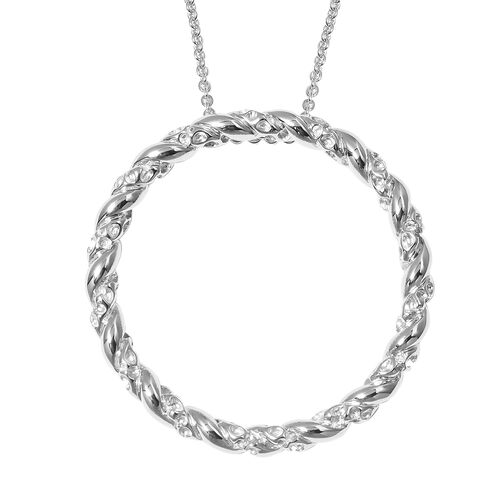 RACHEL GALLEY Rhodium Plated Sterling Silver Circle of Life Pendant with Chain (Size 30), Silver wt 23.61 Gms.