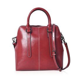 100% Genuine Leather Satchel Bag with Detachable Shoulder Strap and Zipper Closure (Size 29x12x30 Cm