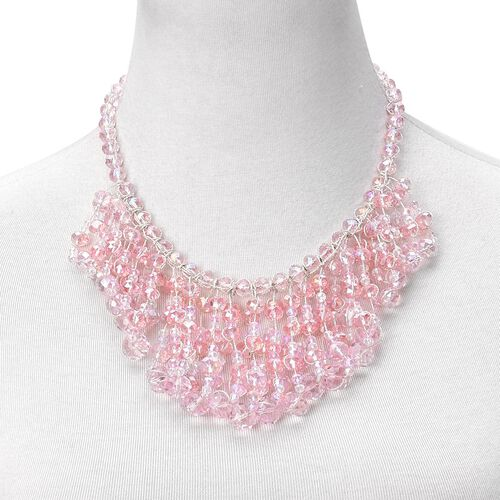 Simulated Pink Diamond Waterfall Necklace (Size 18 with 3 inch Extender) in Silver Tone
