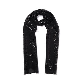 Scallop Pattern Sequin Scarf (Size 58x190 Cm) - Black